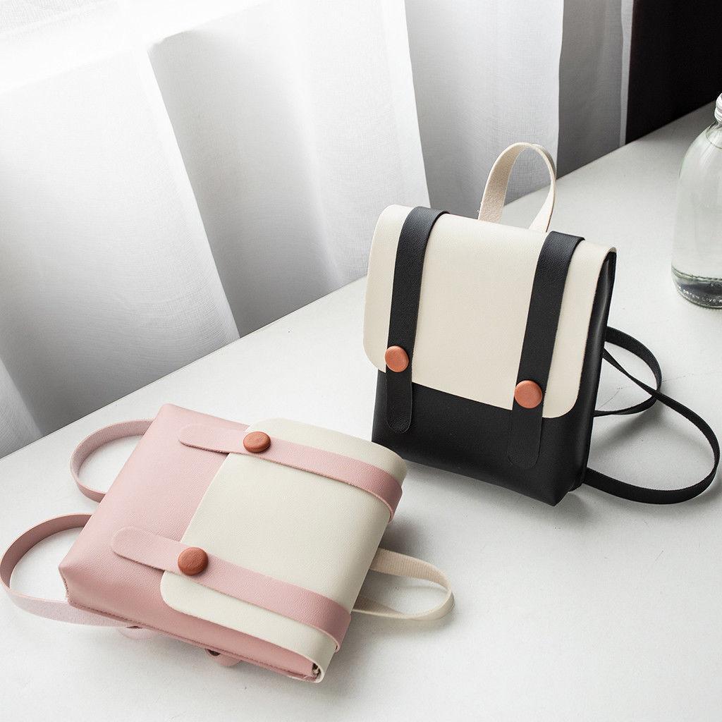 Women's Small Tote Backpack Satchel PU Leather Mini Bag Travel College School Shoulder Rucksack Satchel 2019 New