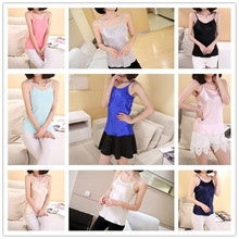 2017 NEW Free shipping women lady girl tank tops summer clothing shrit 100% pure silk material many colors S/M/L/XL/