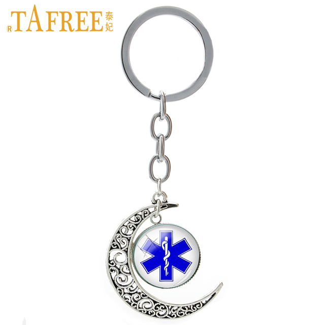 TAFREE Star of Life keychain Medical Alert Dentist men women jewelry fashion Om Yoga Suger Skull moon key chain ring gift T807