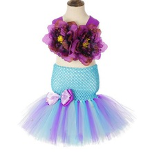 цены 2019 Girls Mermaid Costumes With Flower Tops Headband Set for Girl Mermaid Tutu Dress Kids Fancy Theme Party Dress Vestido 2-8Yr