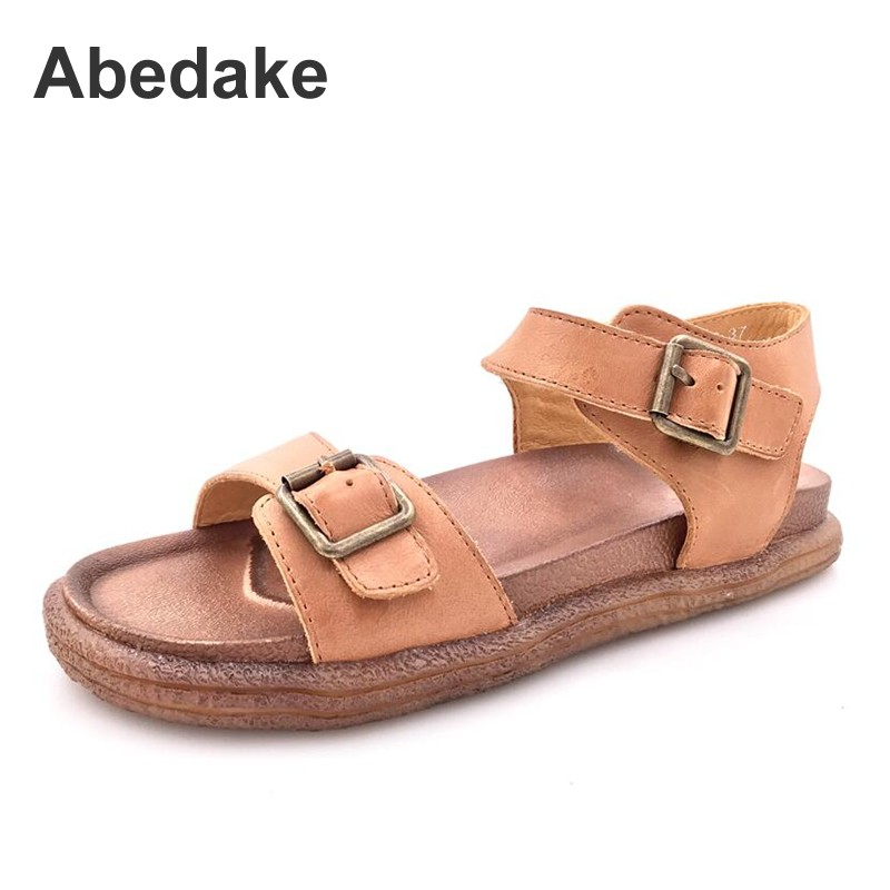 Abedake women gladiator sandals soft casual antiskid cow leather sandals  Top genuine leather handmade sandals woman flat shoes