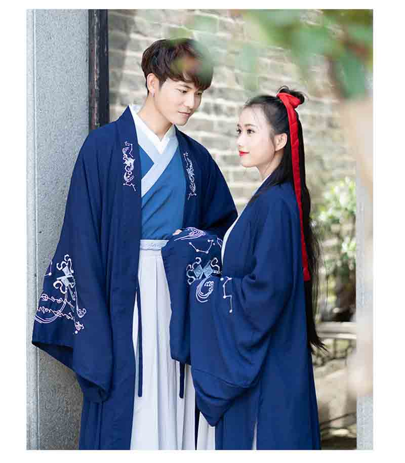 Couples Costume Ancient Chinese Vintage Blue/Gray Set Outfit Fantasia Adult Halloween Costume For Men And Women Plus Size 3XL