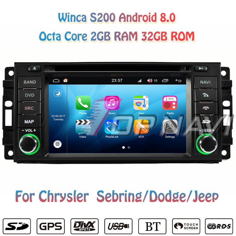 Topnavi Octa Core S200 Android 8.0Car DVD Multimedia Player For Dodge/Chrysler Sebring/Jeep Radio Stereo 2DIN GPS Navigation