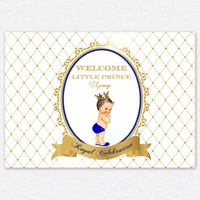 custom gold royal blue white baby prince crown backdrops High quality Computer print party photography studio background