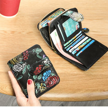 Colorful Oil Painting Flower Short Wallet Women Genuine Leather Purse Female Card Holder Womens Coin Bag Lady