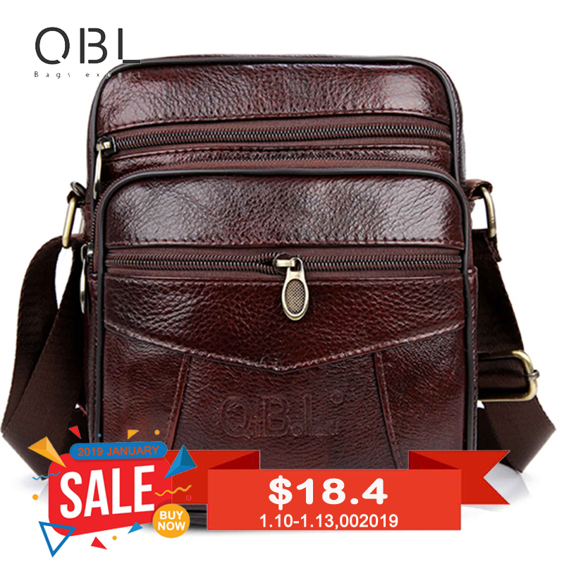 QiBoLu Cow Genuine Leather Messenger Bags Travel Business