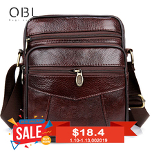 цена на Cow Genuine Leather Messenger Bags Men Casual Travel Business Crossbody Shoulder Bag for Man Sacoche Homme Bolsa Masculina MBA19