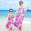 New Bohemian Floral Beach Dress Mother Daughter Dresses Sleeveless Strap Chiffon Family Matching Clothes For Summer AF1649