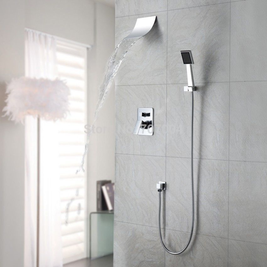 Polished Chrome Wall Mount Waterfall Spout Head Shower Faucet With Hand  Shower System In Shower Faucets From Home Improvement On Aliexpress.com    Alibaba ...