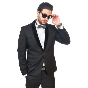 Custom Custom Made Groomsmen Shawl Black Lapel Groom Tuxedos Charcoal Men Suits Wedding Best Man (Jacket+Pants+Tie+Hankerchief)