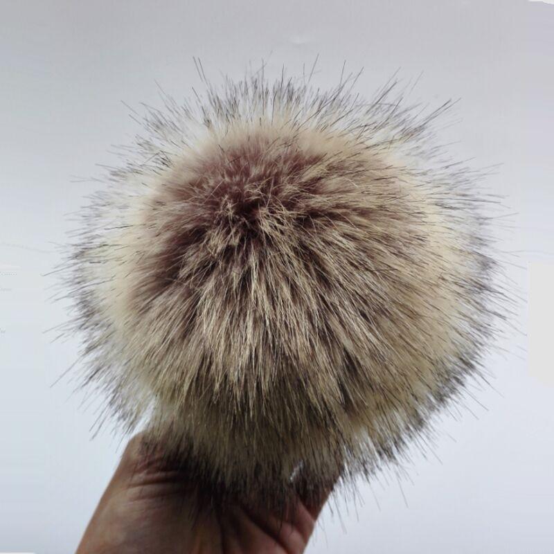12 Cm Anti Kompresse Künstliche Polyester Fell Pom Pom Für Gestrickte Mützen Skullies Faux Pelz Ball Für Taschen Schlüssel Kette Zubehör