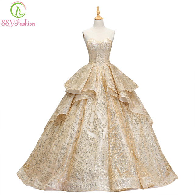 SSYFashion 2018 New High-end Gold Evening Dress The Banquet Luxury  Blingbling Sequins Sleeveless Party Ball Gown Robe De Soiree 6060b783f