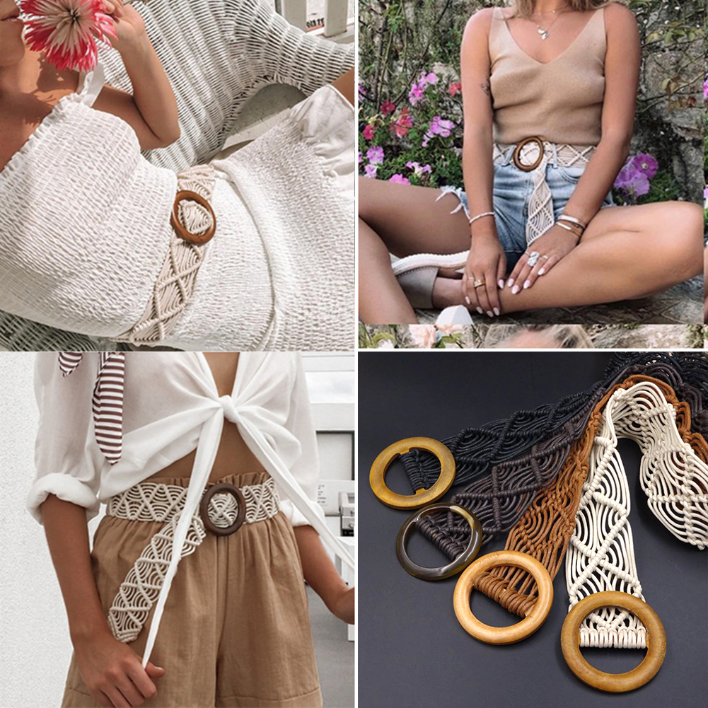 Boho Style Wax Rope Knitted Belt Round Wooden Buckle Handmade Braided Female Belt Casual Khaki Belts For Women Solid Waist Belt