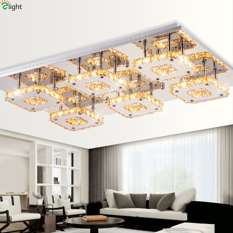 Modern Mirror Steel Dimmable Led Ceiling Light Lustre Crystal Living Room Led Ceiling Lamp Bedroom Led Ceiling Lights Fixtures modern rural metal led ceiling lamp lustre printing glass bedroom led ceiling lights living room led ceiling lights fixtures