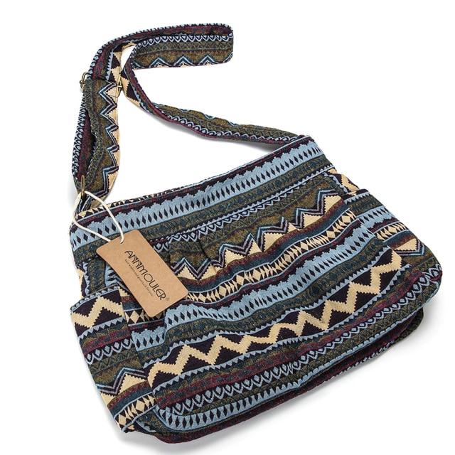 Women Crossbody Bag Vintage Large Capacity Shoulder Bag Multi-pocket Cotton Messenger Bag Hobo for Ladies 2