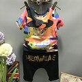 Nueva Llegada 2016 Ropa de Los Niños del Juego de Los Muchachos Niño Niños Verano Ropa de Algodón de Camuflaje Bronceado Camiseta Shorts Set 2-7Y
