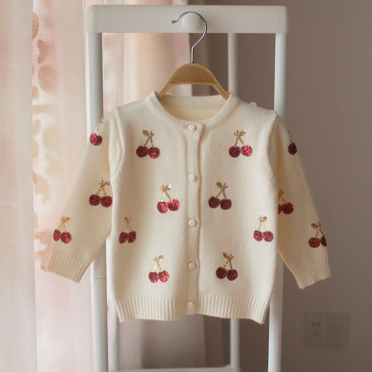 Hot 2018 spring and autumn girls baby cardigan sweater girl cartoon cherry sweater baby cute sweater cartoon print drop shoulder sweater