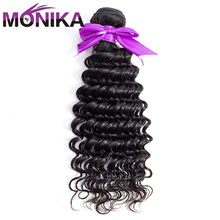 Monika Hair Brazilian Deep Wave 100% Human Hair Weave Bundles 8 to 26 Inches 1 Bundles Deal Non Remy Hair Extension Double Weft(China)
