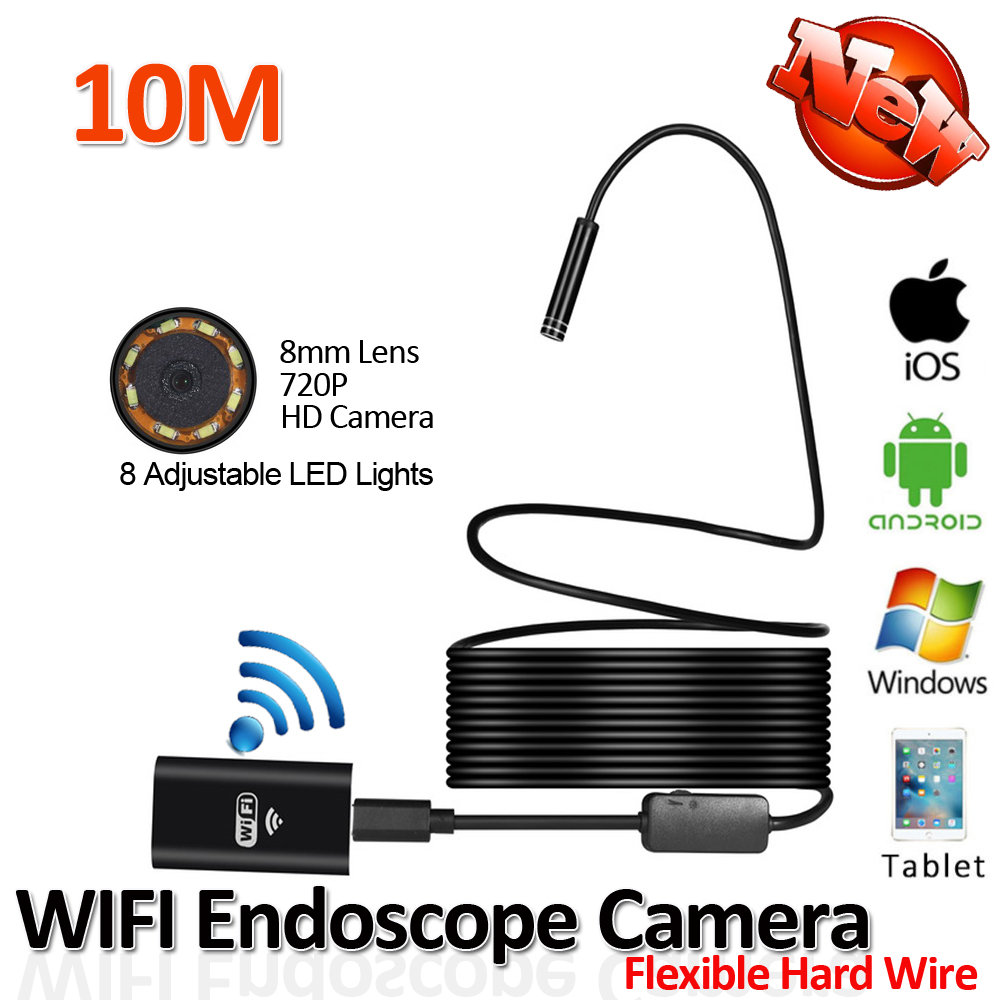 2017 New 8LED 10M Hard Flexible Snake USB WIFI Android Endoscope Camera HD 720P 8mm 2MP Iphone Borescope Pipe Inspection Camera