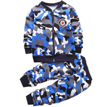 Children Boys Winter Warm Woolen Outerwear Jack Coat Pants Girls Clothing Set Baby Kids Hoody Trousers Camouflage Tracksuit