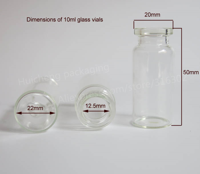 100 x 10ml Clear Injection Glass Vial with Plastic-Aluminium Cap1/3oz  Transparent Glass Bottle 10cc Glass Containers