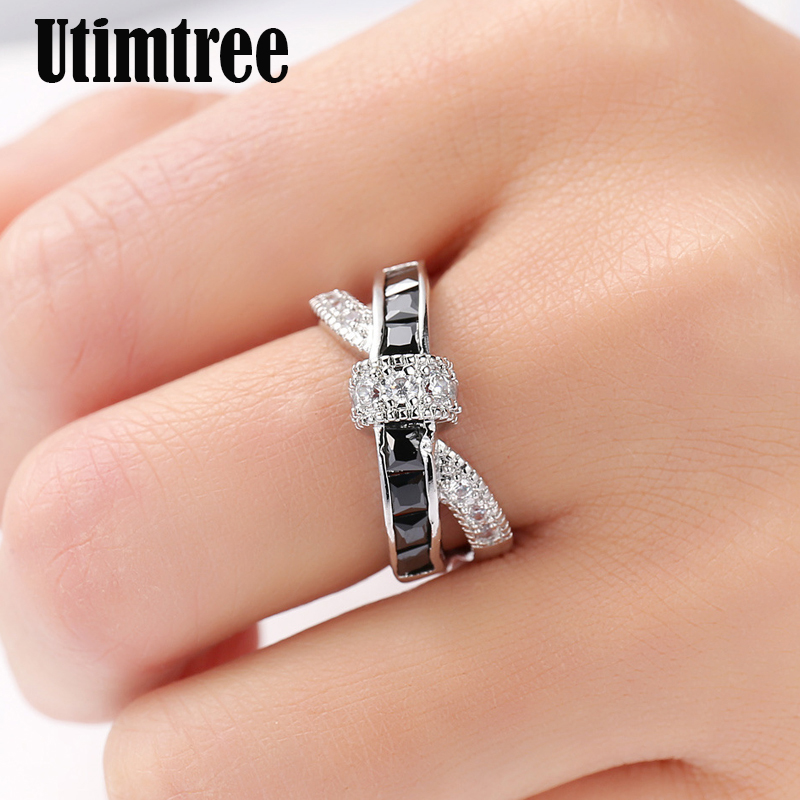 Utimtree Hot Valentines Gift Classic X Shape Cross Rings for Women Zirconia Micro Paved Silver Color Wedding Party Ring Jewelry