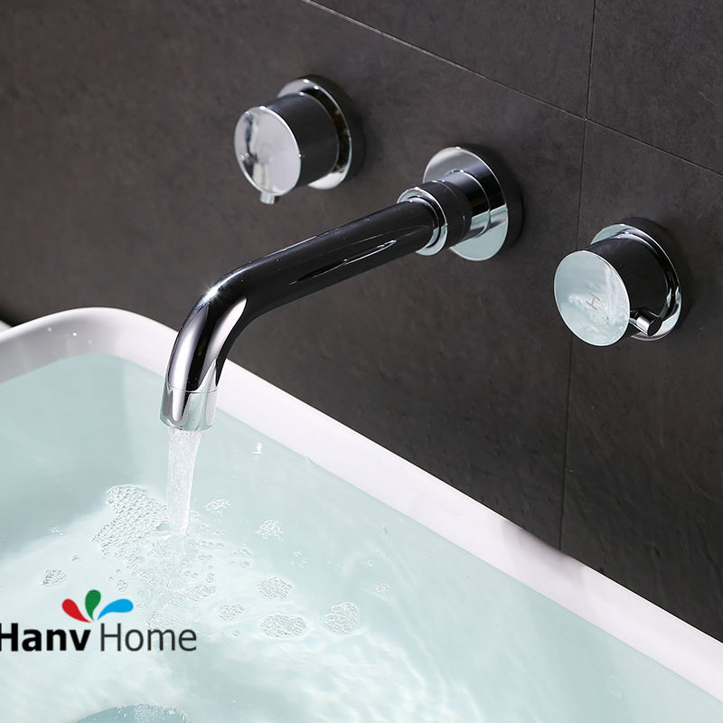 Bathroom Brass Chrome Finish Double Valve Mixer Basin Tap Bath Tub Sink mixer Basin Mixer Tap In wall Basin Faucet 12-062 blanco alta 512319 tap mixing valve oriental style chrome by blanco
