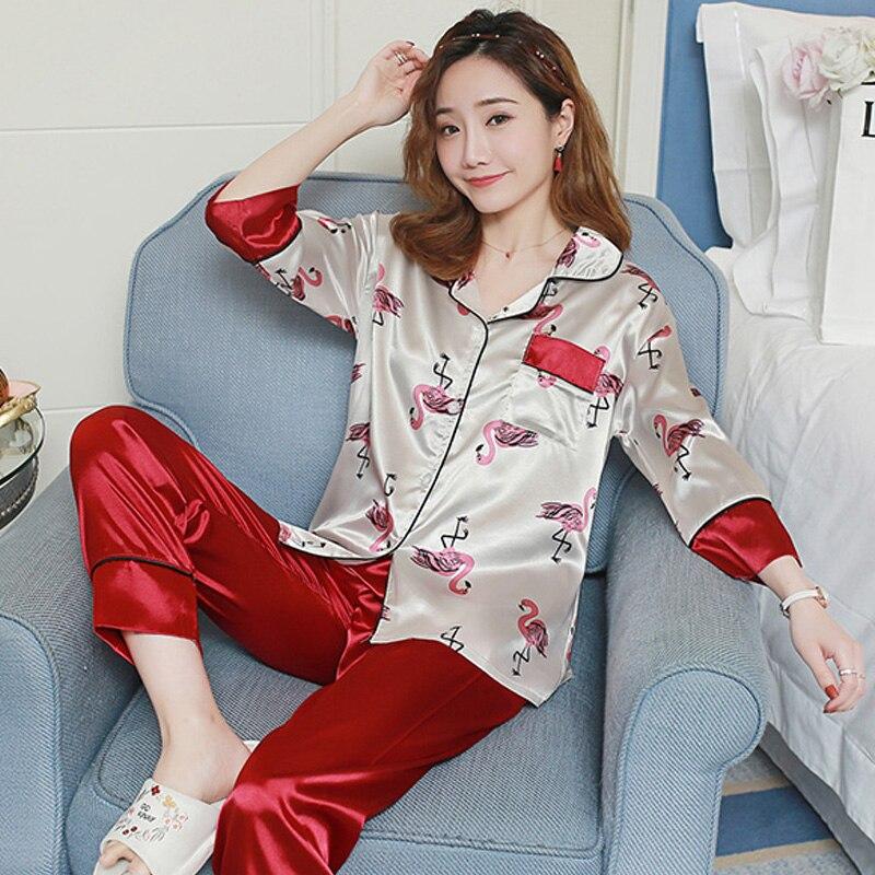 Women Comfortable Silk   Pajama     Set   Womens Nightshirt elegant Printing Pyjama   Set   Long Sleeve Sleepwear Top Long Pant pijama mujer