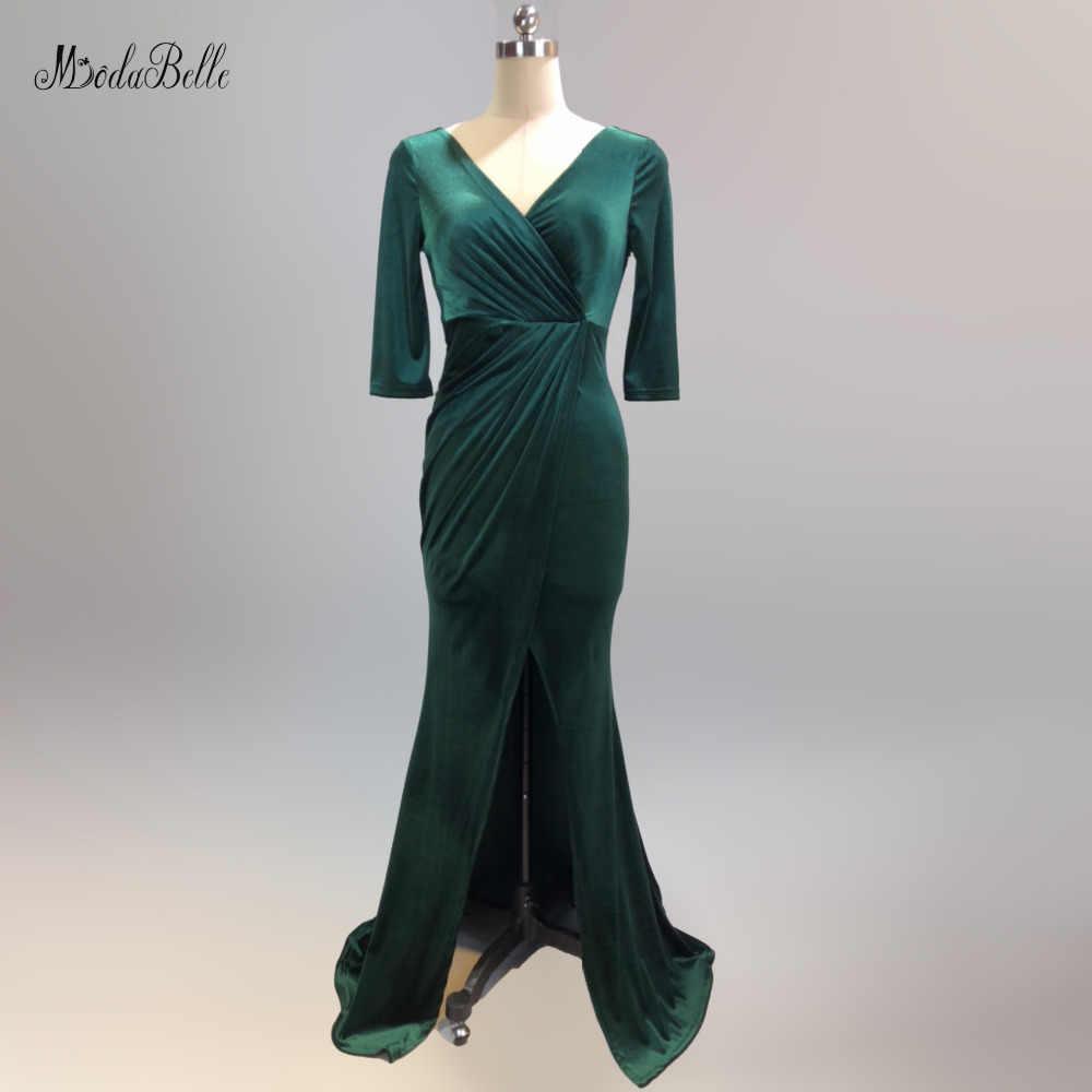 Modabelle de terciopelo verde oscuro vestido de noche Vestiti Lunghi manga  larga frente pliegue en hendidura negro noche vestido abendkleider Lang
