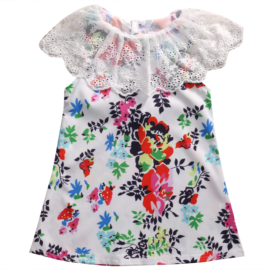 Lovely Nice Baby Kids Girl Lace Floral Dress Princess Party Tutu Dresses Children Girls Summer Clothes 2016 summer baby flower girls lace princess dress children lolita style party tutu dresses girl pink floral dress kids clothes