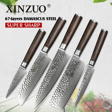 XINZUO 5 pcs Kitchen Knife Set Damascus Steel Chef Knife set Stainless Steel Chef Utility Knife Pakkawood Handle Cutlery Slice