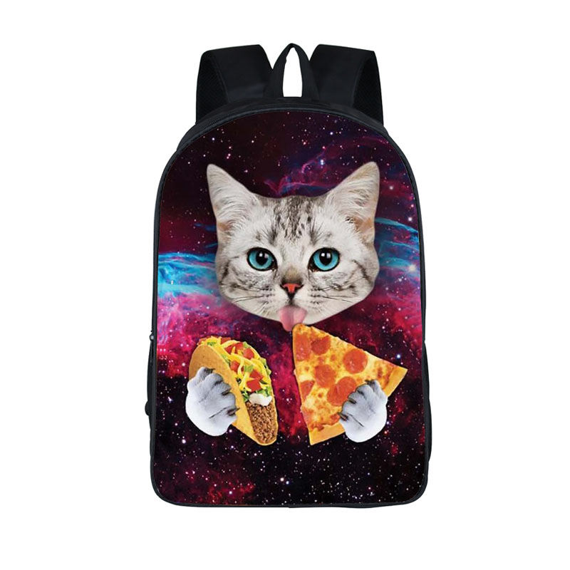 Kitten Backpack Book-Bag Pizza Tacos Animal Teenagers Girls Kawaii Children for Eating