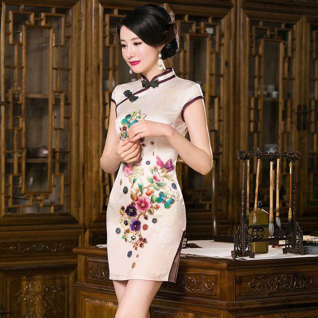071d94681 Short Style China Women's Satin Cheongsam Hot Sale Mini Qipao Elegant Slim  Dress Flower Size S M L