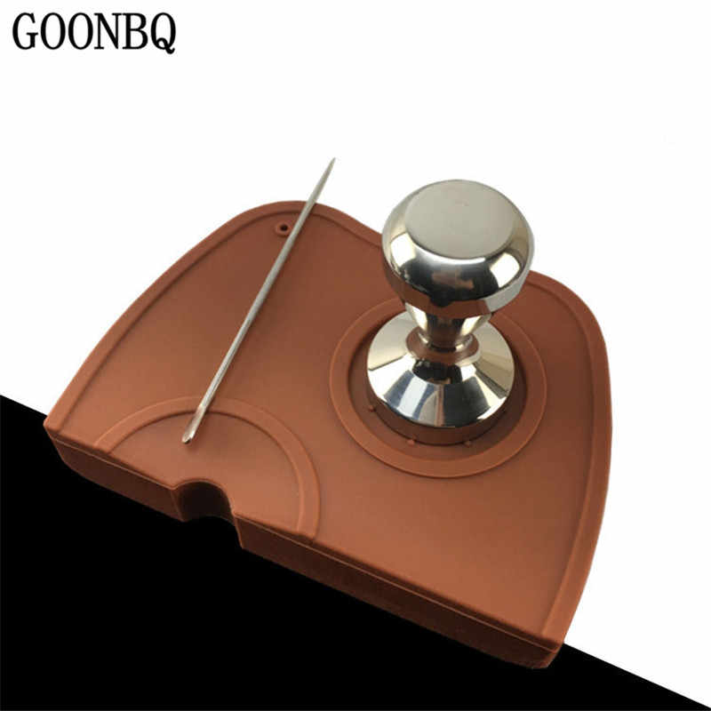GOONBQ 1 pc 15*20 cm Coffee Tamper Mat  Silicone Espresso Coffee Hammer Mat Corner Coffee Powder Maker Hammer Pressure Mat