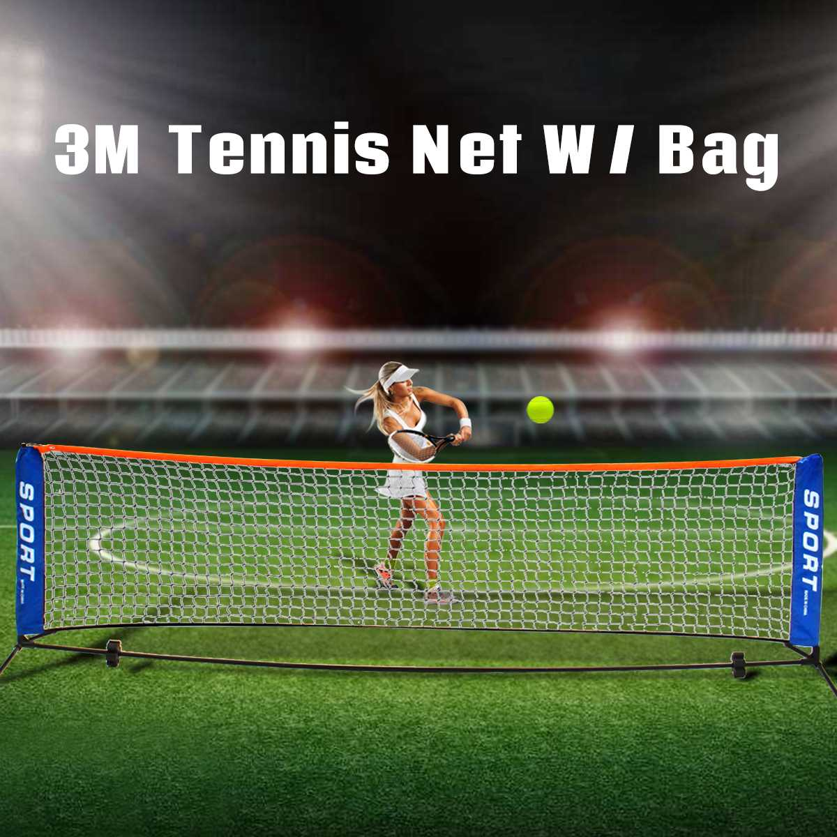 Tennis Net Portable Frame Badminton Beach Volleyball Training Net Mesh 3 Metre Net & Post Set Racquet Sports Network