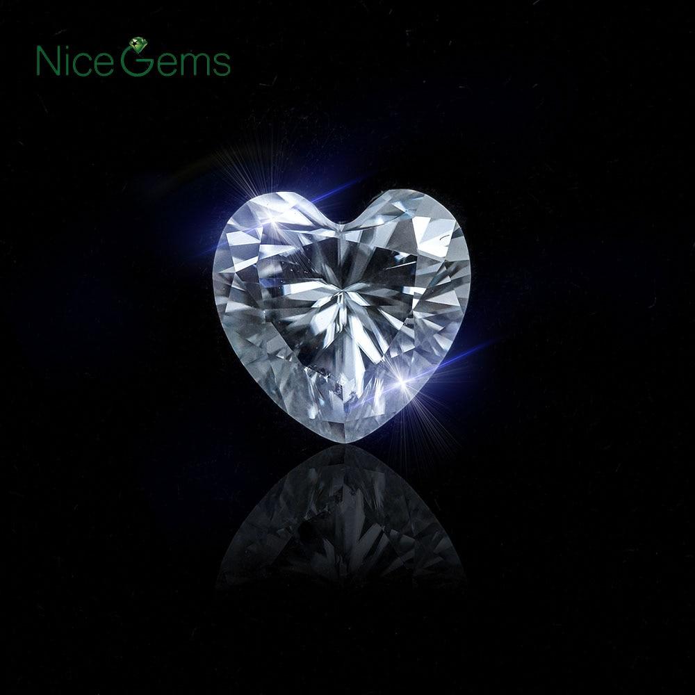 NiceGems 1 Carat 6.5 millimetri D Forma di Cuore di Colore Lab Grown Moissanite Del Diamante di Pietra Allentati come Vero Diamante per Gioielli che fanno-in Perline da Gioielli e accessori su  Gruppo 1
