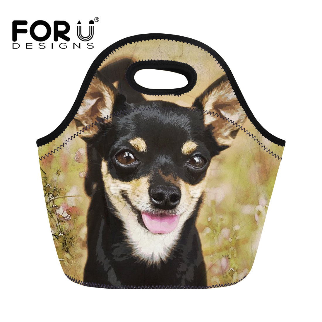 FORUDESIGNS 2018 Neoprene Waterproof Lunch Bag Food Storage Bag Chihuahua Print Women Kids Baby Casual Food Container Carry Tote