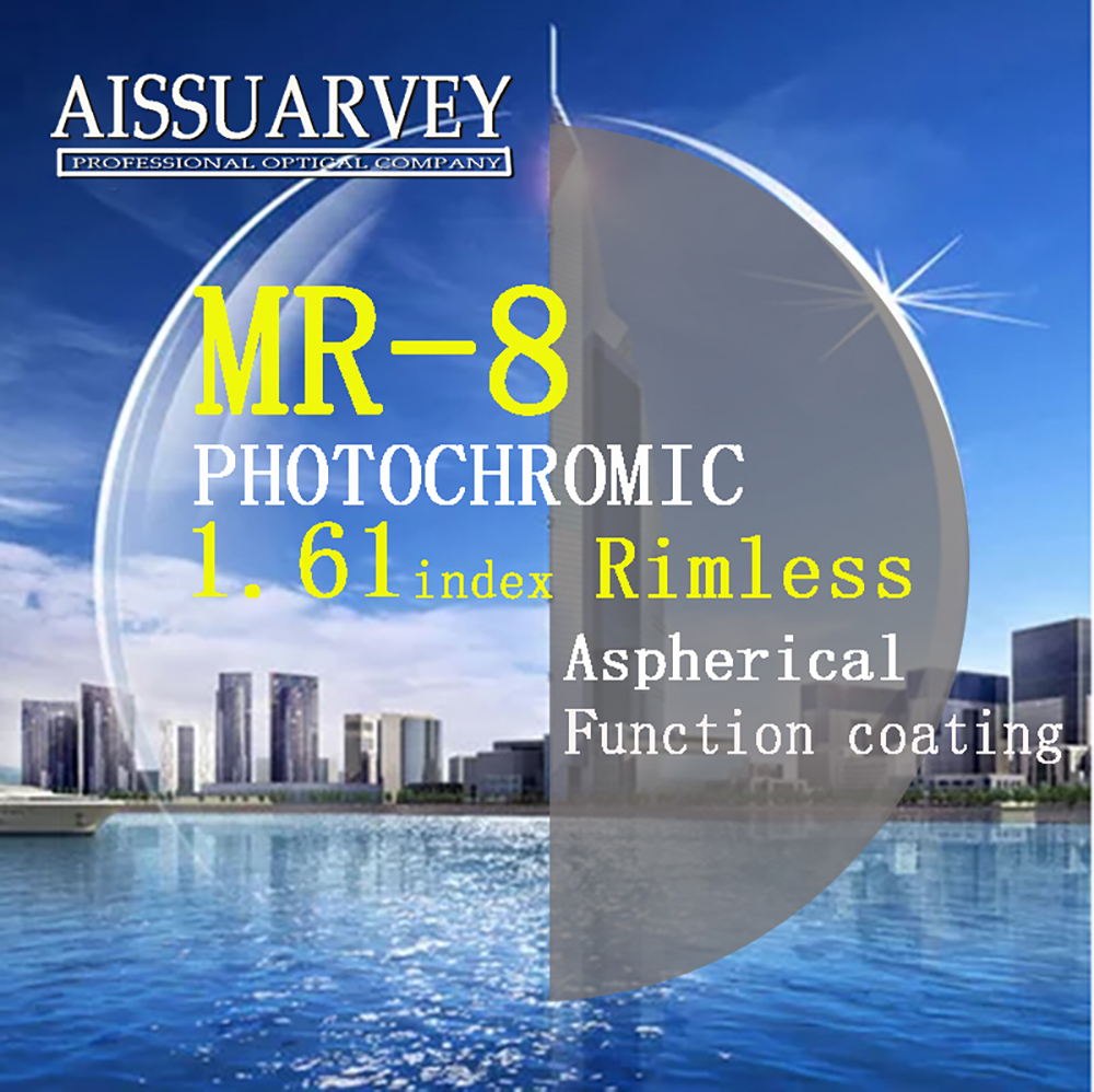 1 61 Index Aspherical Lenses MR 8 Photochromic Gray Top Quality Anti glare Anti reflection Thin