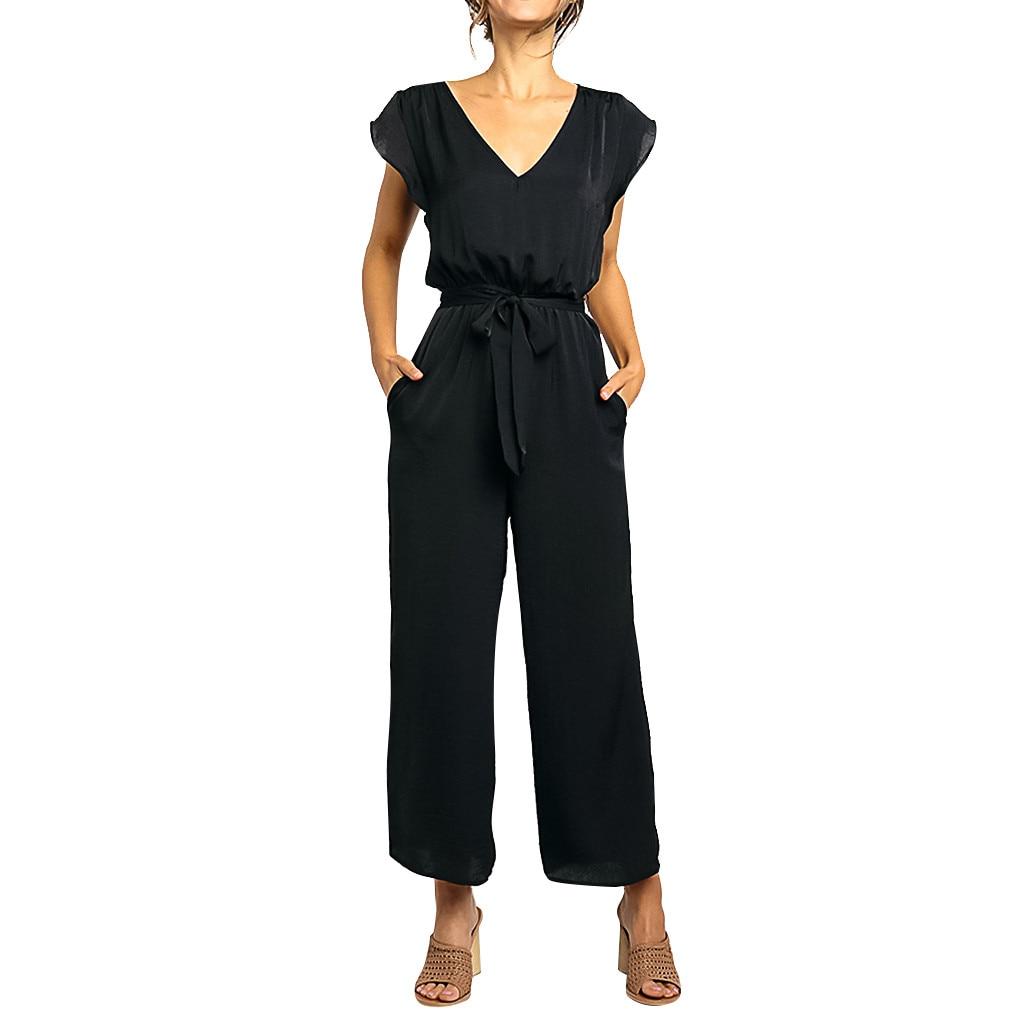 CHAMSGEND Black Short Sleeve High Waist Jumpsuits Women Summer V Neck Belt Bandage Jumpsuit Fashion Elegant Solid Jumpsuits May3