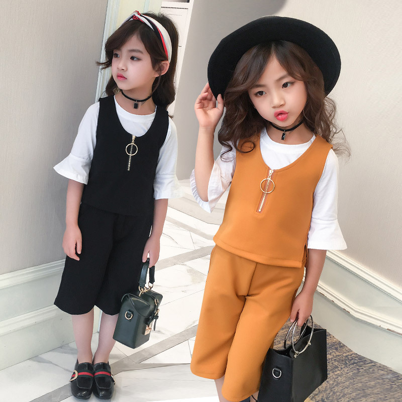 3 Piece/set Girls Clothes for 4-12 Years Kids Yellow Cotton Vest+White Shirt+Knee-length Pants Girls Black Suits for Summer 5B29 pogo club little girls 3 piece quilted vest set