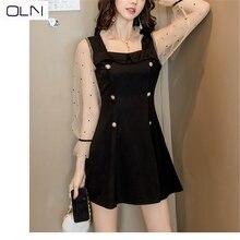 2019 Korean sexy dress small black dress polka dot mesh stit