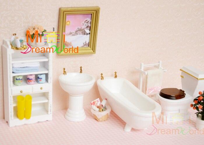 Toilette Da Bagno : Dollhouse miniature legno bianco mobiletto del bagno vasca da