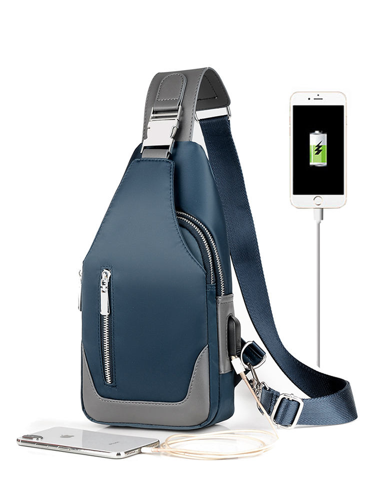 Handbag Chest-Bags Usb-Charging Shoulder-Oxford-Cloth Crossbody Men's Casual Multifunction