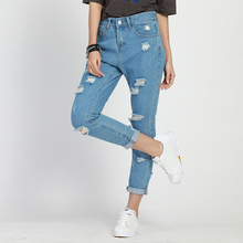 Summer Casual Jeans for women High Waist Ripped full length regular straight pants Hole Women Denim Trousers edge curl vintage