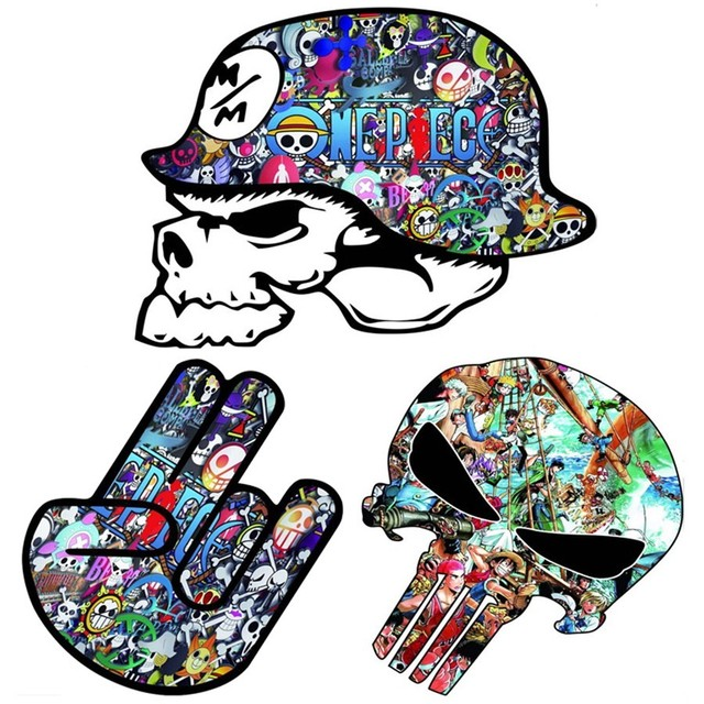 Cool Car Styling Creative D Cartoon Car Sticker Funny One Piece D Graffiti Skull Hat