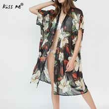 Mid Long Female Cardigan Pinted Beach Cover Up Women's Tunic Sexy anti emptied Beachwear Cover-Ups Summer Clothes for Women