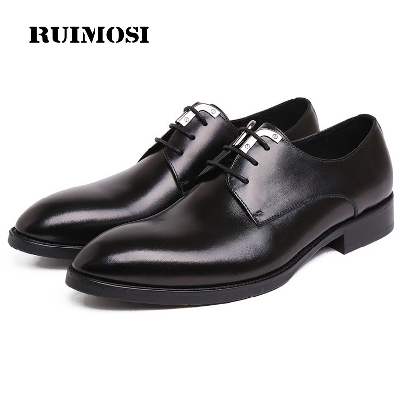 RUIMOSI Pointed Toe Platform Man Formal Wedding Dress Shoes Genuine Leather Male Famous Oxfords Derby Men's Bridal Flats EI81