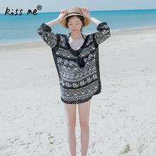 Deep V Female Top Black Printed Beach Cover Up Women's Tunic Hollow Beachwear Cover-Ups Summer Clothes for Women