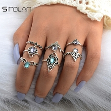 New Fashion 7pcs / Set Wedding Jewelry Bohemian Ethnic Wind Color Crystal Vintage Exaggerated Hollow Flower Ring For Women