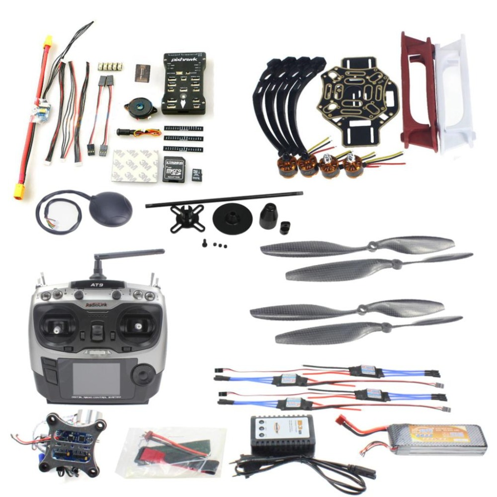 DIY FPV Drone Quadcopter 4-axle Aircraft Kit F450 450 Frame PXI PX4 Flight Control 920KV Motor GPS AT9 Transmitter F02192-AE diy multirotor drone flight control kit apm 2 8 flight controller m8n gps black shell for f450 f500 f550 quadcopter